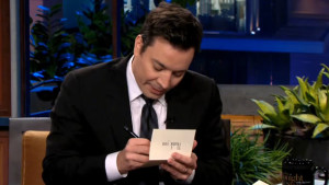 "Jimmy Fallon - Host of The Tonight Show starring Jimmy Fallon, writing a Thank You note, during the ""Thank You Notes"" segment, on the Tonight Show starring Jimmy Fallon - we do not own this image, but thanks for allowing us to borrow it"
